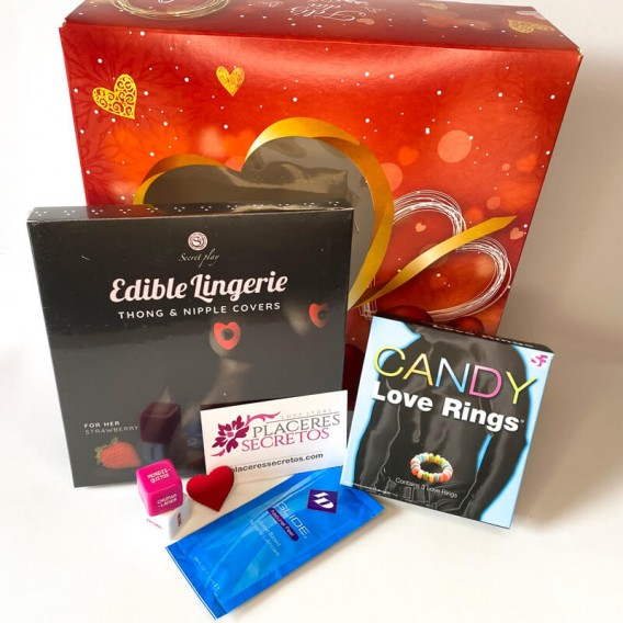Kit Tanga y Cubrepezones comestibles Fresa Mujer