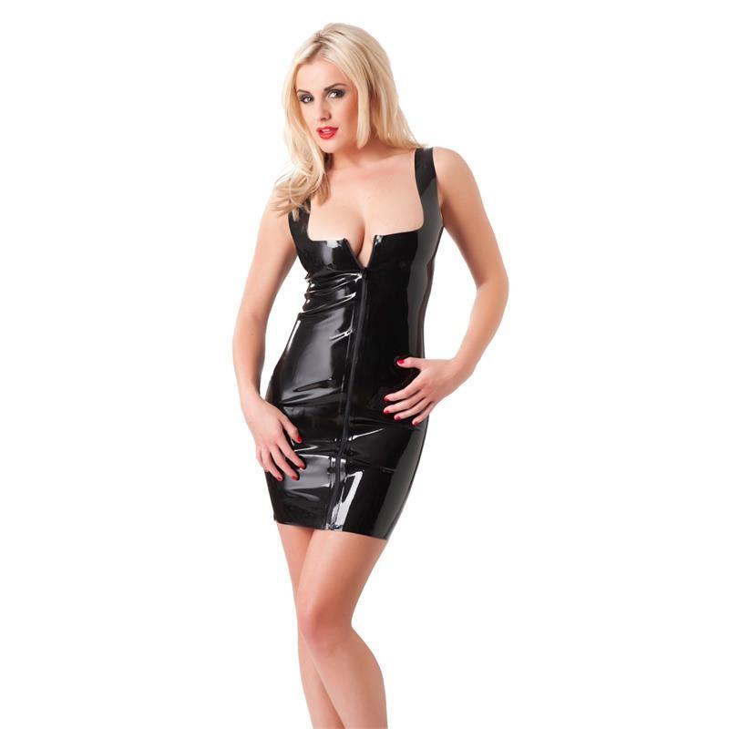 Mini Vestido Latex Con Cremallera Delante